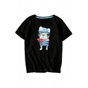 Lovely Hat Dog Printed Round Neck Short Sleeve T-Shirt
