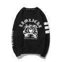 Fashion Eyeball Letter Printed Round Neck Long Sleeve Sweatshirt