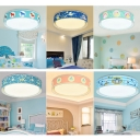 Cartoon Animal Pattern Flushmount Boys Girls Room Acrylic LED Ceiling Light in Warm/White