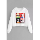 Chic Cartoon Glasses Girl Printed Long Sleeve Crop Hoodie