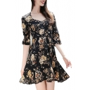 Bohemia Style Floral Printed V Neck Half Length Sleeve Mini A-Line Dress