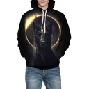 3D Solar Eclipse Animal Printed Long Sleeve Oversized Hoodie