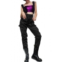 Cool High Waist Plain Leisure Overall Cargo Pants