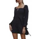 Vintage Square Neck Long Sleeve Button Front Plain Mini A-Line Dress