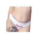 PLEASE Letter Printed Elastic Waist Skinny Underwear Panty