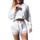 Fashion Plain Long Sleeve Rib Knit Trim Sheer Mesh Crop Hoodie