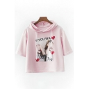 IF YOU WA Letter Heart Children Printed Short Sleeve Hooded Tee