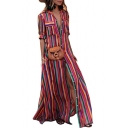 Colorful Striped Printed Button Front Lapel Collar Short Sleeve Maxi Shirt Dress
