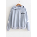 Letter Embroidered Applique Long Sleeve Leisure Hoodie
