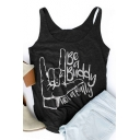 BE A BUDDY Letter Gesture Printed Round Neck Sleeveless Tank