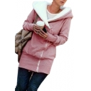 Plain Long Sleeve Offset Zipper Front Warm Tunic Hooded Coat
