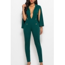 V Neck Plain Buttons Embellished Front Split Sleeve Office Lady Jumpsuit