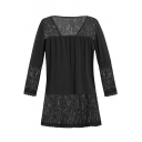 Lace Patchwork 3/4 Length Sleeve V Neck Button Front Blouse