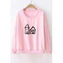 Cartoon House Printed Round Neck Long Sleeve Sweatshirt