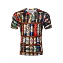 Beer All Over Printed Round Neck Short Sleeve T-Shirt
