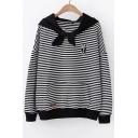 Cat Embroidered Striped Printed Tie Front Hood Long Sleeve Casual Hoodie