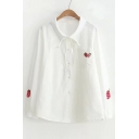 Strawberry Embroidered Lapel Collar Button Front Long Sleeve Shirt