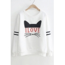 I LOVE Letter Cat Printed Contrast Striped Long Sleeve Round Neck Sweatshirt