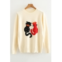 Cat Printed Pearl Embellished Round Neck Long Sleeve Sweater