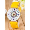 Feather Pattern Leather Band Quartz Leisure Watch