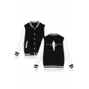 Character Letter Printed Back Color Block Long Sleeve Button Front Baseball Jacket
