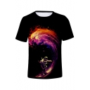 Fancy Galaxy Astronaut Printed Round Neck Short Sleeve T-Shirt