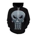 Menswear 3D Skull Printed Long Sleeve Casual Hoodie