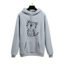 Cat Printed Raglan Long Sleeve Leisure Hoodie