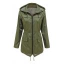Elastic Waist Long Sleeve Zip Up Hooded Sports Waterproof Hooded Coat