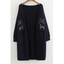 Deer Floral Embroidered Collarless Long Sleeve Open Front Tunic Cardigan