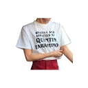 Chic WRITTEN Letter Printed Round Neck Short Sleeve T-Shirt