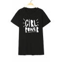 GIRL POWER Letter Printed Round Neck Short Sleeve T-Shirt