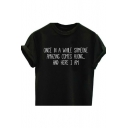 ONCE IN A AWHILE Letter Printed Round Neck Short Sleeve Tee