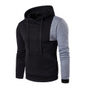 Slim Color Block Long Sleeve Fashion Hoodie for Men
