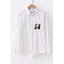 Polka Dot Printed Cat Embroidered Lapel Collar Long Sleeve Button Front Shirt