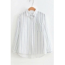Striped Printed Lapel Collar Long Sleeve Button Down Casual Shirt
