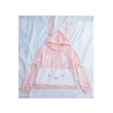 Color Block Rabbit Pattern Bow Embellished Long Sleeve Loose Hoodie