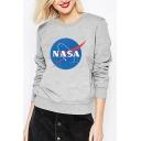 Round Neck NASA Graphic Printed Long Sleeve Sweatshirt