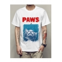 PAWS Letter Cat Printed Round Neck Short Sleeve Graphic Tee