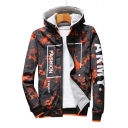 Fashion Letter Graphic Printed Long Sleeve Zip Up Hooded Jacket