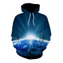 3D Earth's Surface Printed Long Sleeve Oversized Hoodie