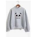 PANDA LOVE Letter Animal Printed Round Neck Long Sleeve Sweatshirt