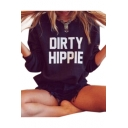 DIRTY Letter Printed Round Neck Long Sleeve Sweatshirt