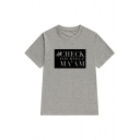 CHECK Letter Graphic Printed Round Neck Short Sleeve T-Shirt