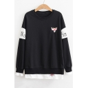 Cartoon Animal Embroidered Color Block Letter Printed Long Sleeve Fake Two Pieces Panel Hem Sweatshirt
