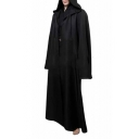 Long Sleeve Plain Open Front Cosplay Hooded Cape