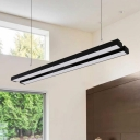 36W, Warm White Light 2700K-6500K Double Led Linear Strip in Black/Silver L48