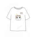 Cat Chinese Letter Printed Round Neck Short Sleeve Tee