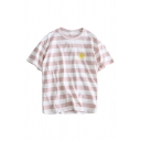 Striped Printed Sun Embroidered Round Neck Short Sleeve Leisure Tee