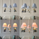Blue/Pink Fabric Shaded Chandelier with Monkey Children Room 3/5 Lights Decorative Hanging Light